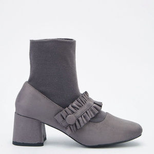 Ruched Sock Overlay Ankle Boots ruffle snap grey